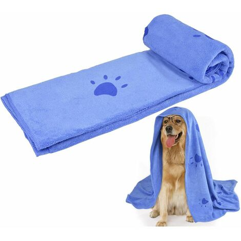 Super Absorbent Pet Bath Towel Microfiber Dog Drying Towel for Small, Medium, Large Dogs and Cats, Dog Towel for Indoor and Outdoor with Pet Bath Brush, blue