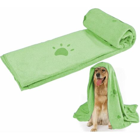 Super Absorbent Pet Bath Towel Microfiber Dog Drying Towel for Small, Medium, Large Dogs and Cats, Dog Towel for Indoor and Outdoor with Pet Bath Brush, green