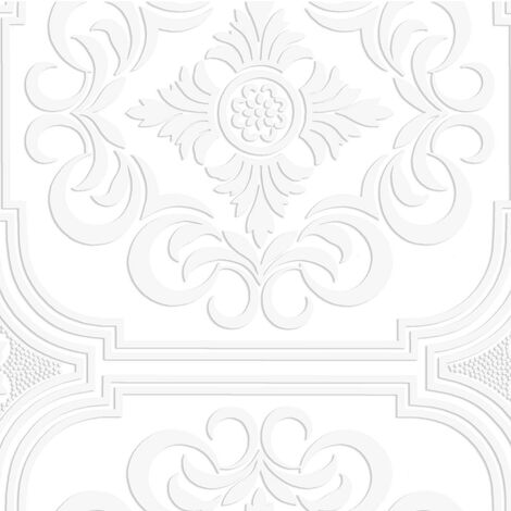 Super Fresco Blenheim Panel White Wallpaper Blown Vinyl Textured Embossed