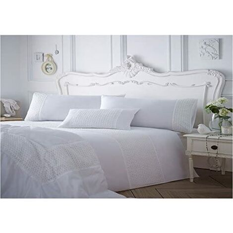 """main image of """"Super King Size Bed Quilt Duvet Cover & 2 Pillowcase Bedding Bed Set - White With Lace Detail"""""""
