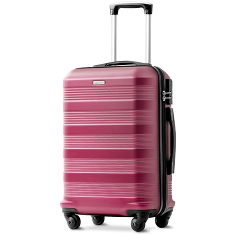 """Super Lightweight ABS Hard Shell Travel Spinner 4 Wheels Suitcase Luggage (Wine Red, 20"""")"""