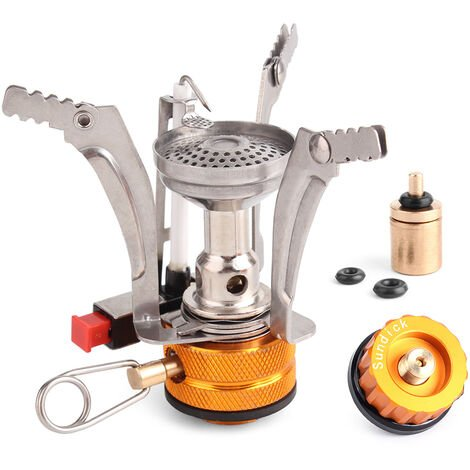 """main image of """"Super Lightweight Stove Outdoor Cooking Burner Folding Camping Gas Stove with Flat Canister Adapter and Refill Adapter,model: 2"""""""
