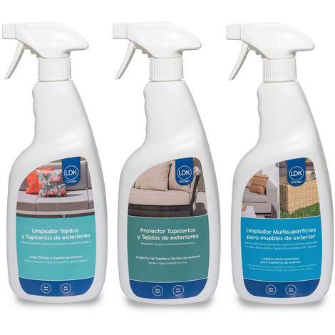 Súper pack de limpia textiles, protector de textiles y limpia muebles de exterior