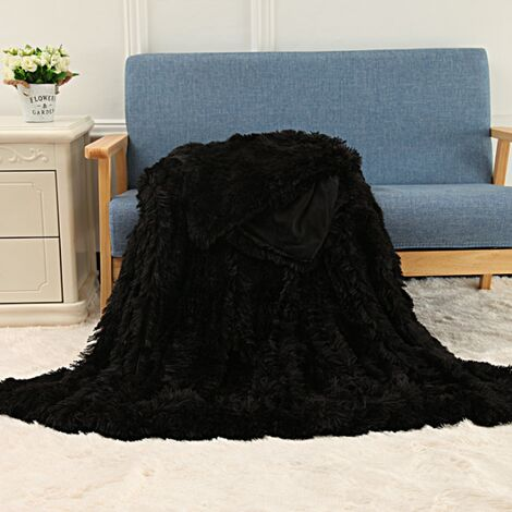 Super Soft Blanket Ultra Plush Velvet Bedding Sofa Blanket Home Office Outdoor Travel black 80x120cm-blanket