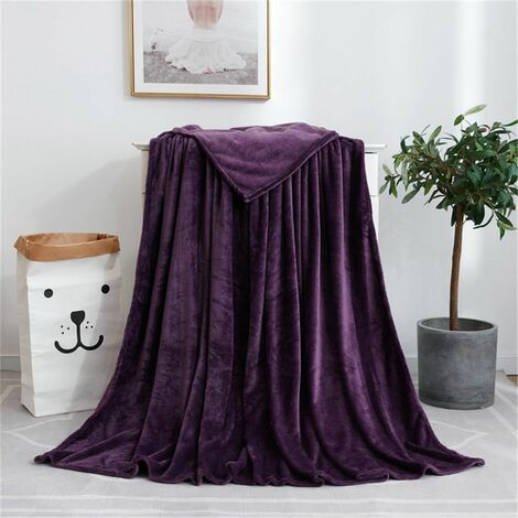 """main image of """"Super Soft Warm Blanket Extra Large Bed Blanket For Office, Home, Sofa, Outdoor, Travel Use (purple, 120x200cm)"""""""