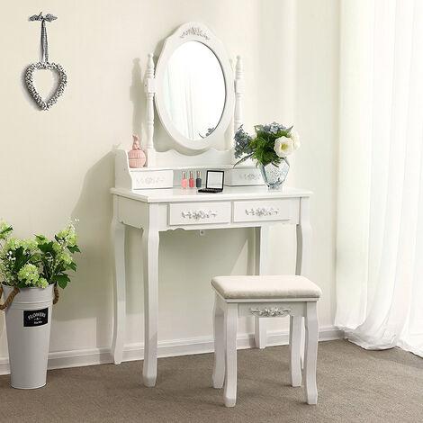 Superbe coiffeuse blanche table de maquillage avec miroir et tabouret 4 tiroirs 145 x 75 x 40 cm
