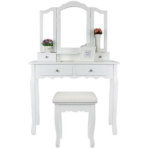 Superbe Grande Coiffeuse Table de Maquillage Style Champêtre avec 3 Miroir, 4 Tiroirs et 1 Tabouret