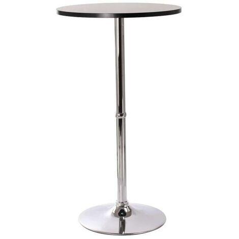 Superbe table haute mange debout bar bistrot bistrot MDF diamètre 60 cm noir - Noir