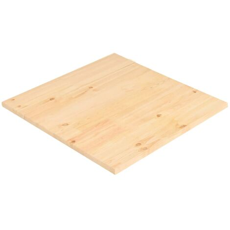 Superficie de mesa cuadrada madera de pino natural 70x70x2,5 cm