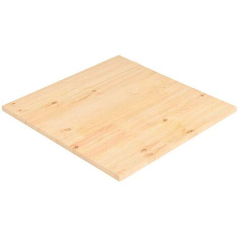 Superficie de mesa cuadrada madera de pino natural 90x90x2,5 cm