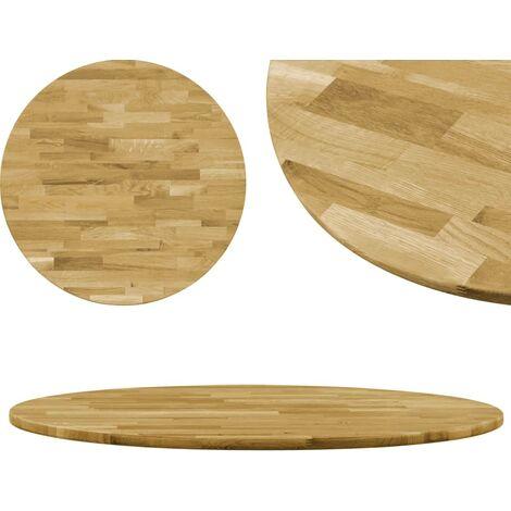 Superficie de mesa redonda madera maciza de roble 23 mm 700 mm