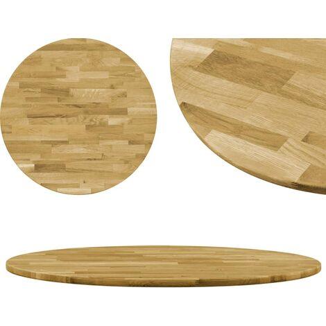 Superficie de mesa redonda madera maciza de roble 23 mm 800 mm - Marrón