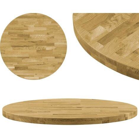 Superficie de mesa redonda madera maciza de roble 44 mm 900 mm - Marrón
