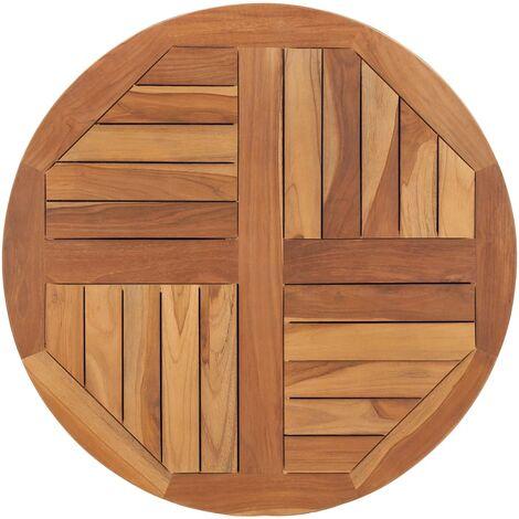 Superficie de mesa redonda madera maciza de teca 2,5 cm 70 cm