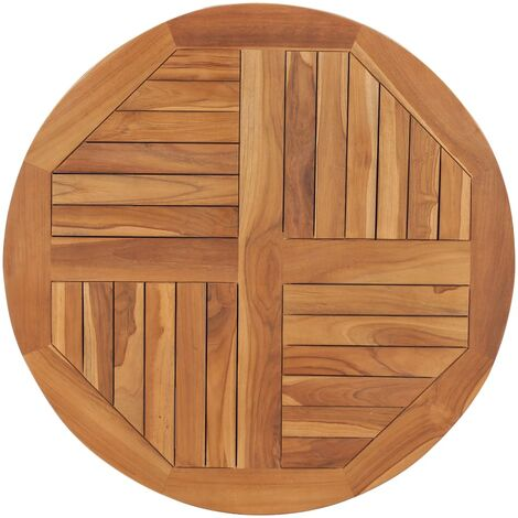 Superficie de mesa redonda madera maciza de teca 2,5 cm 80 cm