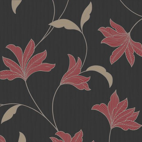 Superfresco Alannah Floral Black/Red Wallpaper (Was £16)