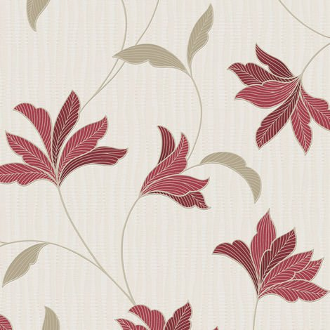 Superfresco Alannah Floral Red/Gold Wallpaper (Was £16)