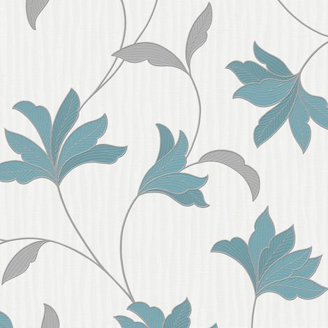 Superfresco Alannah Floral Textured Teal/Silver Wallpaper
