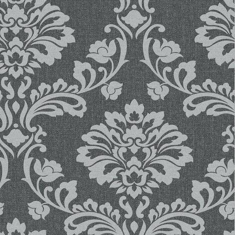 Superfresco Aurora Shimmer Damask Black/Grey Wallpaper