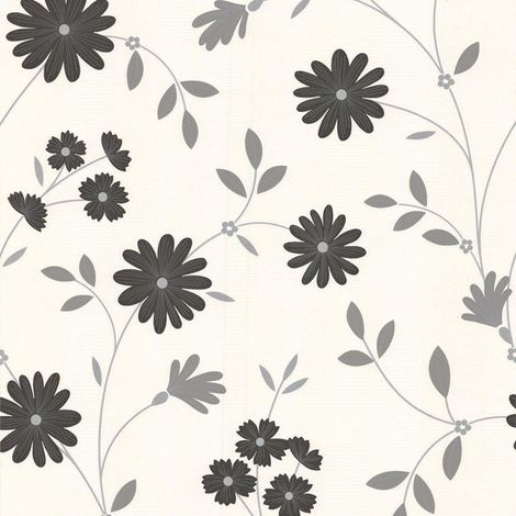 Superfresco Belle Floral Black/ White Wallpaper