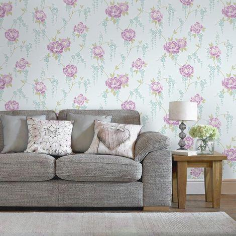 Superfresco Colour Elizabeth Rose/Duck Egg Floral Wallpaper (Was £16)