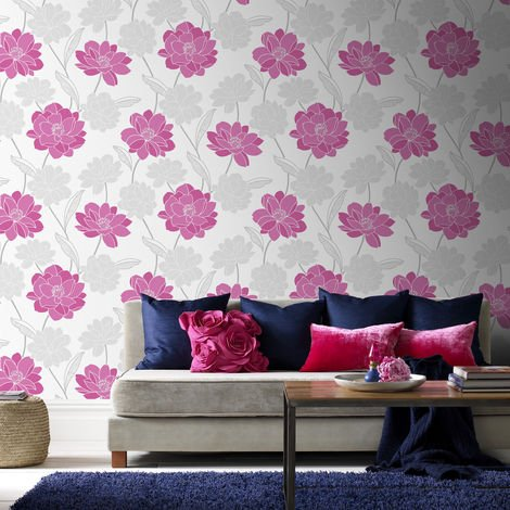 Superfresco Colour Myla Pink Floral Wallpaper (Was £16)