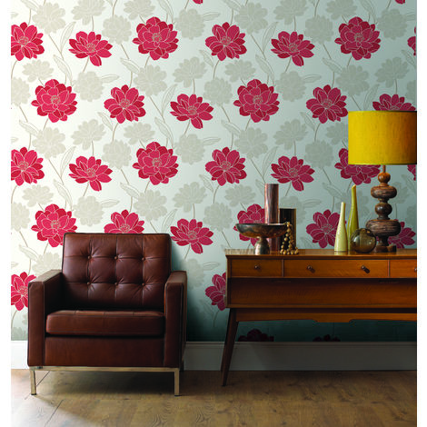 Superfresco Colour Myla Red Floral Wallpaper (Was £16)