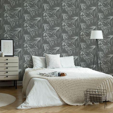 Superfresco Easy Asia Dark Grey Tropical Wallpaper