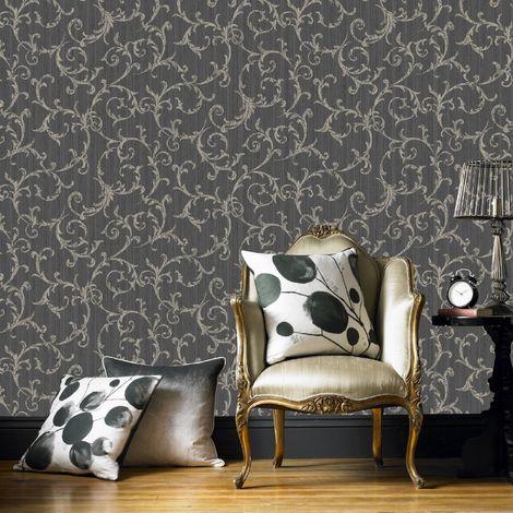 Superfresco Easy Black / Gold Empress Scroll Wallpaper