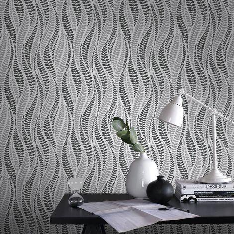 Superfresco Easy Black/Silver Geneva Geometric Trail Wallpaper
