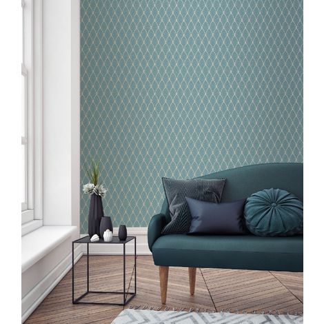 Superfresco Easy Blue Bercy Metallic Art Deco Wallpaper
