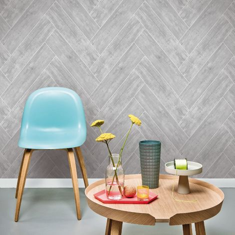 Superfresco Easy Dark Grey Herringbone Wood Wallpaper (Was £16)