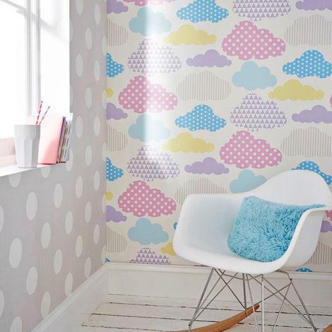 Superfresco Easy Dotty Spot Print Grey/White Wallpaper