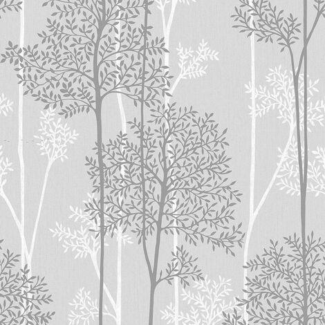 Superfresco Easy Eternal Grey / White Tree Print Wallpaper (Was £17)