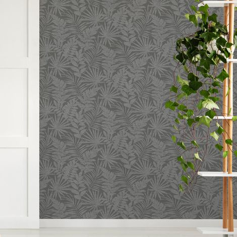 Superfresco Easy Fenne Grey Tropical Leaf Wallpaper