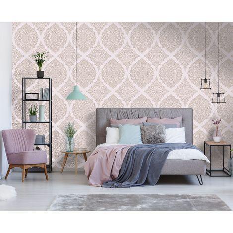 Superfresco Easy Florence Pink / Rose Gold Damask Wallpaper
