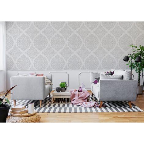 Superfresco Easy Florence Silver Damask Wallpaper