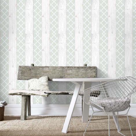 Superfresco Easy Green/Grey Wooden Stripe and Geometric Wallpaper