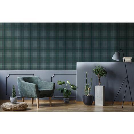 Superfresco Easy Green Heritage Tweed Checkered Wallpaper