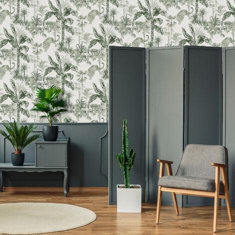 Superfresco Easy Green Zanzibar Tropical Animal Floral Wallpaper