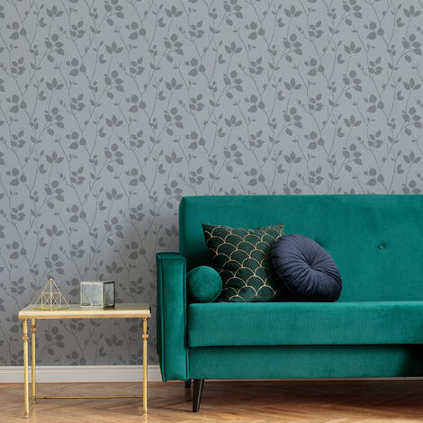 Superfresco Easy Grey Virtue Leaf Silhouette Wallpaper (Was £16)