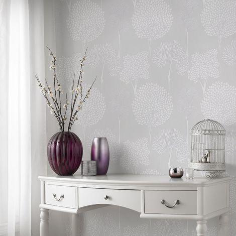Superfresco Easy Grey Whimsical Glitter Floral Wallpaper