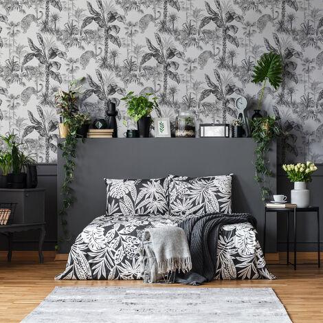 Superfresco Easy Grey Zanzibar Tropical Animal floral Wallpaper