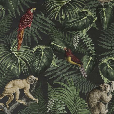Superfresco Easy Into The Jungle Tropical Monkey Green Black Wallpaper Paste the Wall