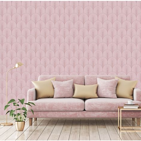 Superfresco Easy Josephine Rosa Pink Art Deco Wallpaper