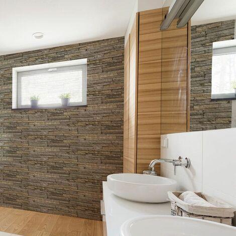 Superfresco Easy Ledgestone Paste the wall Stone Effect Grey/Terracotta Wallpaper (Was £15)