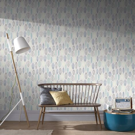 Superfresco Easy Lilac Scandi Leaf Floral Wallpaper