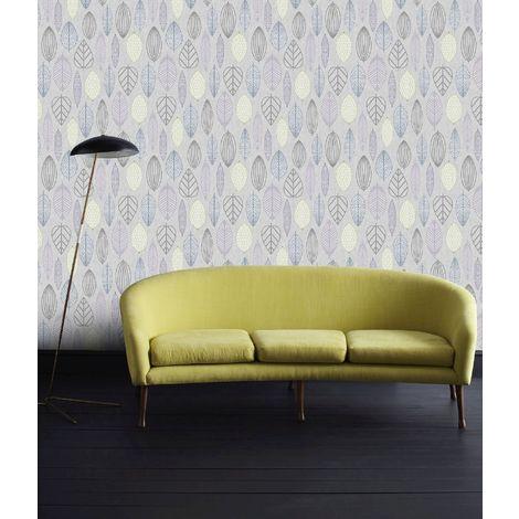 Superfresco Easy Lilac Scandi Leaf Floral Wallpaper