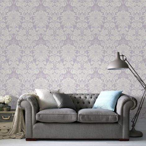 Superfresco Easy Lilac Venetian Damask Wallpaper