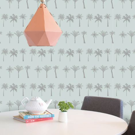Superfresco Easy Nikau Mint Green Tropical Trail Wallpaper